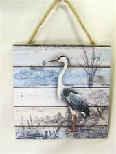 Egret Shore Bird sign with rope left facing nautical decor