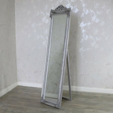 Tall full length freestanding silver cheval mirror vintage French chic bedroom