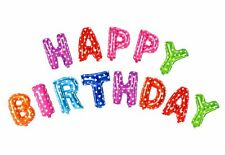 """"""" Happy Birthday """"  Multi Color Alphabet Letters Words Foil Balloons Party 16"""""""