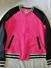 JUICY COUTURE WOMEN'S HOT PINK BLACK ZIP UP TRACK JACKET WOMENS SIZE MEDIUM