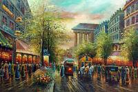 Dream-art Oil painting landscape France Paris Street Scene hand painted canvas