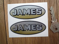 "JAMES Oval Motorcycle Stickers 3.5"" Pair Captain Cadet Commodore Comet Colonel"