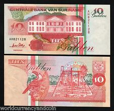 SURINAME 10 GULDEN P137 1996 BIRD BANANA UNC CURRENCY MONEY BILL BANK NOTE