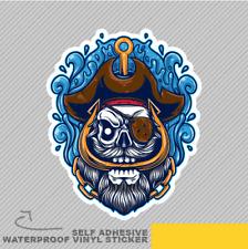 Cráneo parche ocular Dibujos Animados Mar Pirata Ventana Pegatina Calcomanía Vinilo Coche Furgoneta Bici 2392