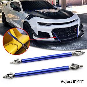 "Adjust 8""-11"" Blue Front Bumper Diffuser Strut Rod Support Bars For Chevy Camaro"