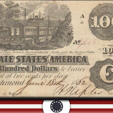 T-39 1862 $100 CONFEDERATE CURRENCY *TRAIN NOTE*   FREE SHIPPING