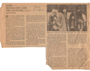 MOTLEY CRUE - 1st Ever Press Interview - LA Times 1981 Clipping - Extremely rare