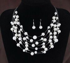 Fashion Women Choker Chain Pendant Statement Bib Peal Necklace Set Earrings