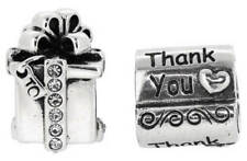 Genuine  Sterling Silver CharmsThank You And Present - Set Of 2, Pouch Included