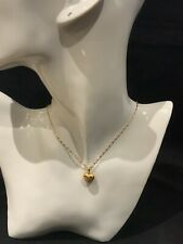 18k 18ct Gold Filled Woman Children Girl 37cms Chain Necklace & Reversible Heart