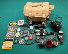Near Mint 1973 Nikon F2 #7247465 35mm Film Camera w/ 3 Lens, Bag, & Accessories
