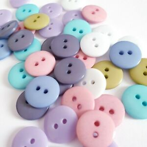 8 ROUND SMARTIE BUTTONS 2 HOLE LIGNE 15mm SIZE 24 WHITE PINK BLUE GREY GREEN