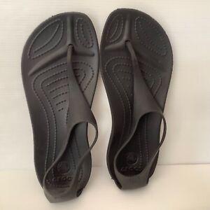 Crocs black sandals size 5 flip thongs NEW