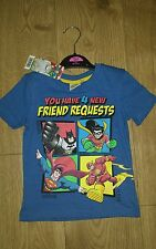 Baby SUPER EROI T Shirt 1-2 ANNI SUPERMAN/BATMAN/FLASH/Robin NUOVO