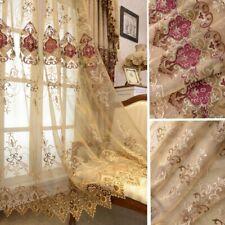 European Embroidery Floral Curtain Sheer Pelmets Tulle Voile Window Panel Drape