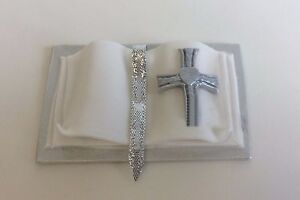 HANDMADE Bible cake topper - SILVER and white