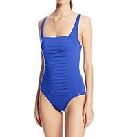NWT Calvin Klein Pleated Front One-Piece Swimsuit Sz 6 Atlantis (K14)