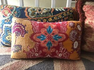 Anthropologie Woven And Beaded Floral Pillow