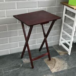 Folding Snack Table Mahogany Wood TV Side Laptop Coffee Tea Portable Bench