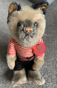 """Very Rare Vintage Schuco Tricky """"Yes No"""" Kitty Cat 8"""" Gray Mohair Germany W/tag"""