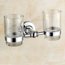 Chrome Toothbrush Holder With 2 Glass Cups Wall Mount Bathroom Accessories