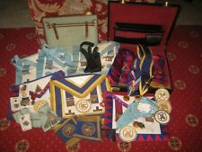 Large Collection Masonic Items, Medals, Sashes, Aprons, Tie & Jewels