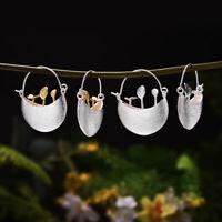 Handmade Flower Guarden Real 925 Sterling Silver Creative Jewelry Drop Earrings