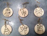 SET 6 PALLE di NATALE legno INCISIONE NATALIZIA decorazione addobbo casa albero