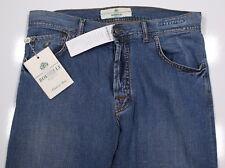 NWT New * BORRELLI * Light Wash Cotton-Linen Straight Fit Jeans 34 x 34