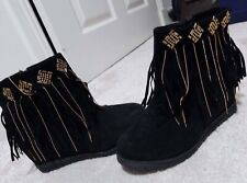 Womens Black wedge Suede Zipped Ankle Boots  Size UK 6.5, EU 40