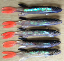 Pike Perch & Bass Pollack soft plastic holo lures - pack of 5 lures
