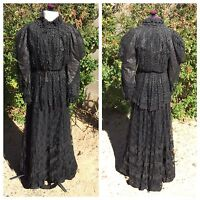 Edwardian 3-Pc Dress Black Lace Beads Boned Shirtwaist Bodice Skirt Top Antique