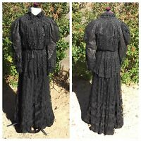 Edwardian 3-Pc Dress Black Lace Beads Boned Shirtwaist Bodice Skirt Top Antique