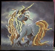 """Handcrafted 3d Gem Picture -Baby Unicorns - 10"""" x 9"""" - Ready to hang on wall"""