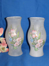"PAIR OF PAINTED FROSTED  FLORAL GLASS CANDLE HURRICANE PILLAR SHADES 8 1/2"" TALL"