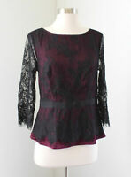 NWT Ann Taylor Black Pink Burgundy Mesh Lace Overlay Evening Top Blouse Size 4