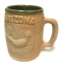 Arizona Roadrunner Coffee Mug Saguaro Cactus Tan Glazed Green Southwest Souvenir