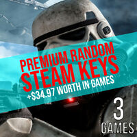 3 Premium Random Steam Keys + BONUS (REGION FREE)