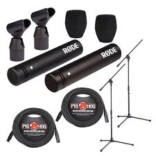 "Rode M5 Matched Pair of Compact 1/2"" Condenser Microphones + 2 CBLS + Stands"