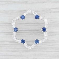 Brooch 18k White Gold Pin 1.42ctw Blue Sapphire White Diamond Flower