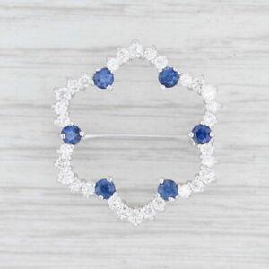 1.42ctw Blue Sapphire White Diamond Flower Brooch 18k White Gold Pin