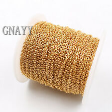 GNAYY 10meter Lot Gold stainless steel joint Oval Chain Jewelry Finding Thin 2mm
