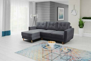 Universal Corner Sofa Bed RETRO with Storage, Fabric in Charcoal