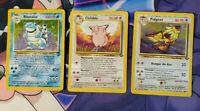 Pokemon TCG 3 PLAYED WOTC RARES BLASTOISE CLEFABLE PIDGEOT base set 2 jungle