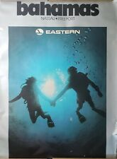 "VINTAGE TRAVEL POSTER~Eastern Airlines 1985 Nassau Bahamas 30x40"" Scuba Diving~"