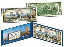 "WORLD TRADE CENTER 9/11 MEMORIAL ""NEVER FORGET"" COLORIZED $2 BILL W/H BLUE FOLIO"