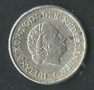 Moneta Antille Olandesi ¼ Guilden 1957 Argento (39) Come da foto