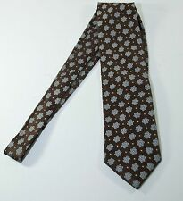 JOS A BANK Handsewn Floral Neck Tie 100% Silk Mens Brown Light Blue Classic 58""