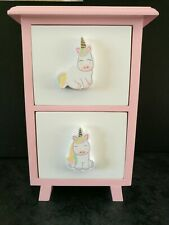 Girls Pink Unicorn Jewellery Storage Box cabinet with 2 drawers 7 inch by 5 inch
