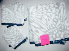 BETSEY JOHNSON HOME 6 PC TOWELS BATH HAND WASH WHITE GRAY BLUE Butterfly LOGO